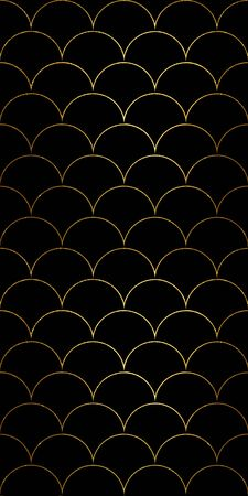 Luxury fish scale seamless pattern. Golden sea wave texture on black background. Print for textile, wallpaper, wrapping.