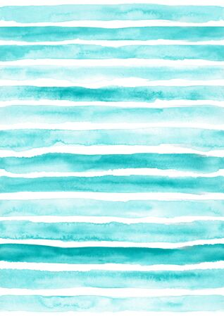 Turquoise seamless striped pattern. Hand drawn grunge watercolor stripes.