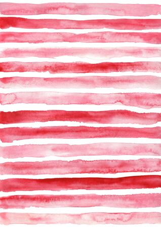 Red striped pattern. Hand drawn grunge watercolor illustration.