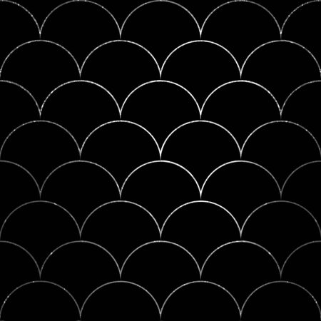 Luxury fish scale seamless pattern. Silver sea wave texture on black background. Print for textile, wallpaper, wrapping.
