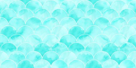 Turquoise sea wave geometric texture. Fish scale seamless pattern. Print for textile, wallpaper, wrapping.
