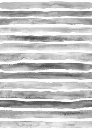 Gray seamless striped pattern. Hand drawn grunge watercolor stripes.
