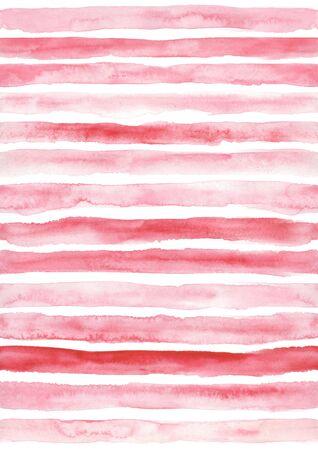 Pink seamless striped pattern. Hand drawn grunge watercolor stripes. 스톡 콘텐츠