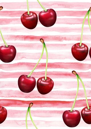 Horizontal seamless striped pattern with cherries. Hand drawn watercolor illustration. 스톡 콘텐츠
