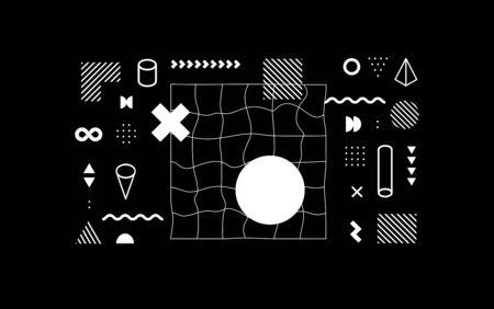 Set of vector neo memphis geometric shapes. Trendy graphic elements for your unique design.