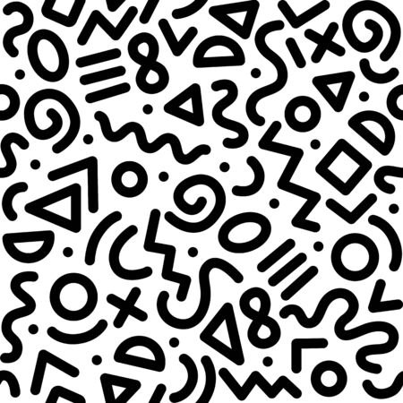 Seamless black and white geometric pattern. Fashion 80-90s. Hipster Memphis style. Vector Illustration