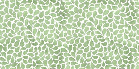 Watercolor abstract background with drops. Elegant green floral seamless pattern.