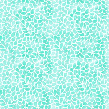 Watercolor abstract background with drops. Elegant turquoise floral seamless pattern.
