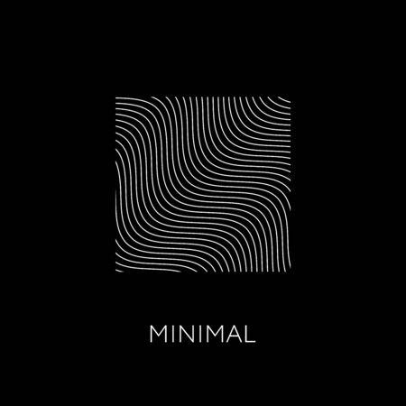 Minimal elegant wavy template. Trendy linear square design element. 스톡 콘텐츠