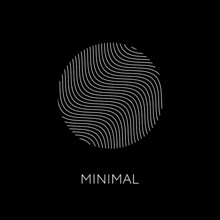 Minimal elegant wavy template. Trendy linear round design element. Fingerprint icon. 스톡 콘텐츠