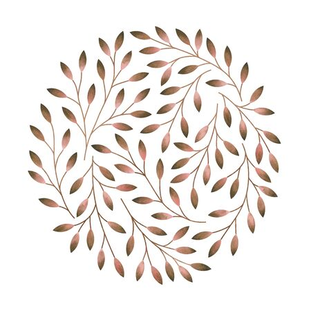 Elegant round pattern with stylized tree branches. Watercolor hand drawn illustration. Stock Photo