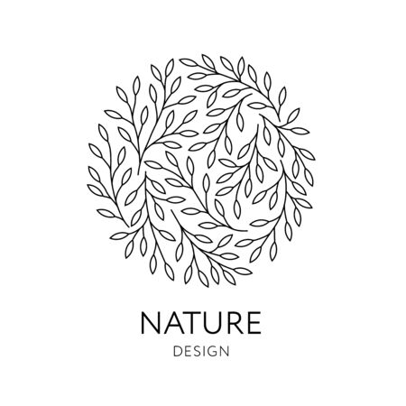 Elegant round emblem with tree branches. Vector organic and natural logo design in trendy linear style. Can be used for medicine, spa, yoga centers, cosmetics, organic food stores, ecology concepts.