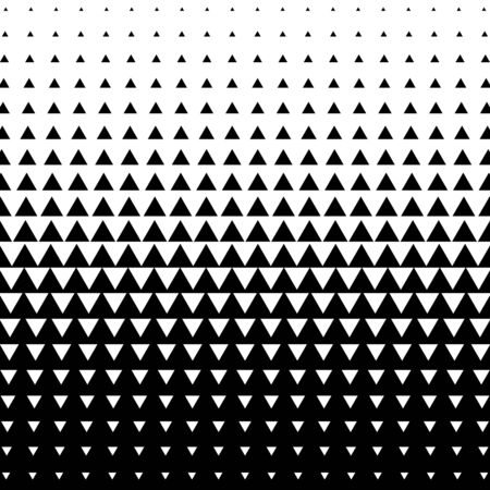 Halftone triangle abstract background. Black and white vector pattern.