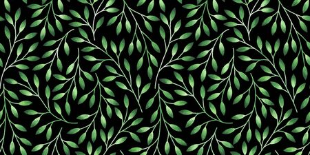 Floral seamless pattern with stylized leaves. Watercolor hand drawn illustration.