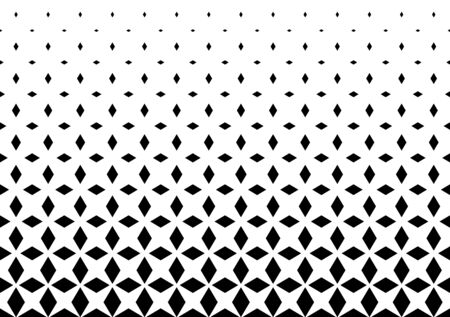 Halftone abstract background with rhombuses. Seamless black and white vector pattern. EPS 10