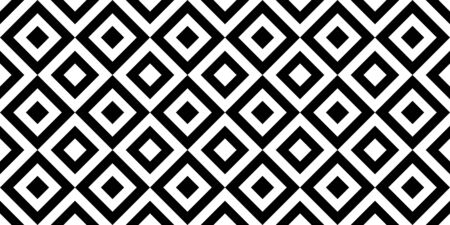 Vector geometric seamless pattern with rhombuses. Black and white stylish texture.