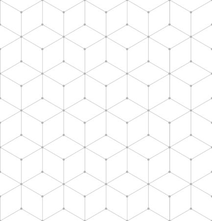 Vector seamless cubic pattern with dots. Modern thin linear hexagon grid texture. Illustration