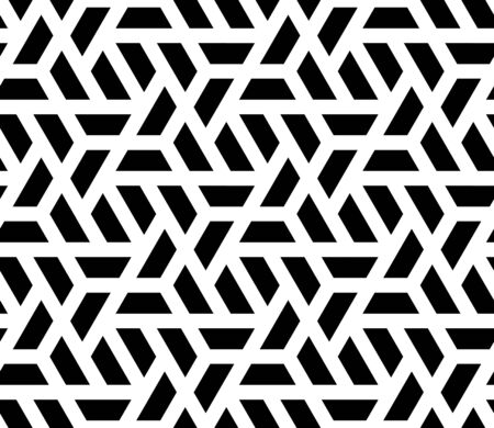 Vector seamless geometric pattern with halves of hexagon. Modern stylish black and white texture.