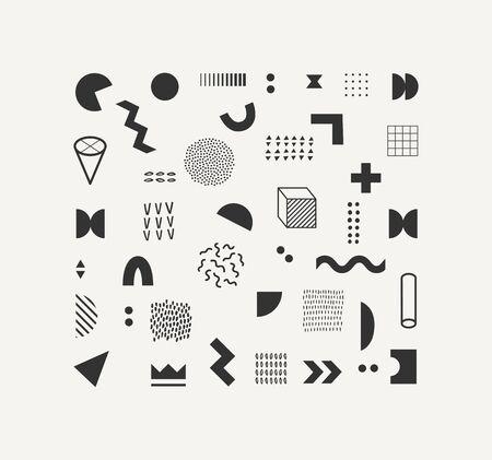Set of vector geometric shapes and textures. Trendy graphic elements for your unique design. Vektoros illusztráció