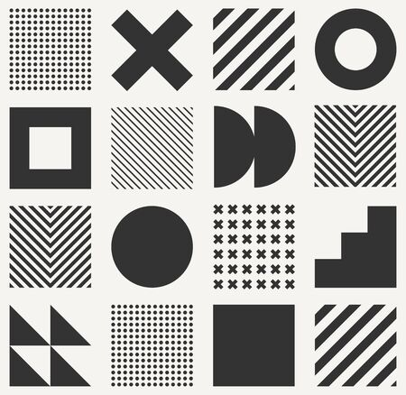 Minimalistic geometric seamless pattern in Scandinavian style. Abstract vector monochrome background with simple shapes and textures. Vektoros illusztráció