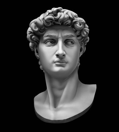 3D-Rendering von Michelangelos David-Büste isoliert auf schwarz. Hochwertige detaillierte monochrome Illustration. Standard-Bild