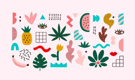 Set of vector hand drawn abstract shapes and tropical leaves. Trendy graphic elements for your unique design.