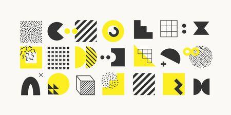 Set of bright bold geometric shapes and textures. Trendy graphic elements for your unique design. EPS 10 Vektoros illusztráció