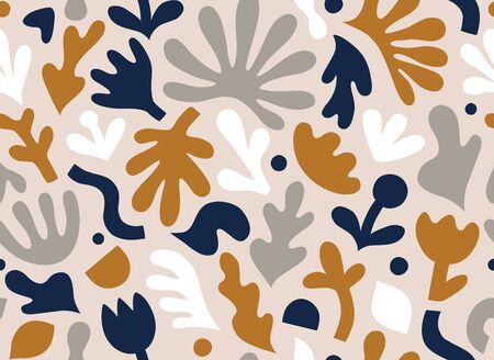 Hand drawn contemporary art collage with abstract floral shapes. Vector seamless pattern with modern Scandinavian cut out elements. EPS 10