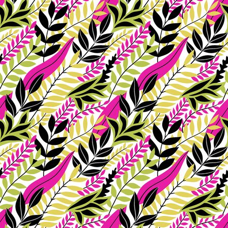 Colorful seamless floral pattern. Stylish summer background with bright tropical leaves. Vector illustration, EPS 10. Vetores