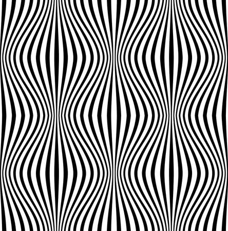 Vector seamless wavy pattern. Stylish striped texture with 3d effect. EPS 10