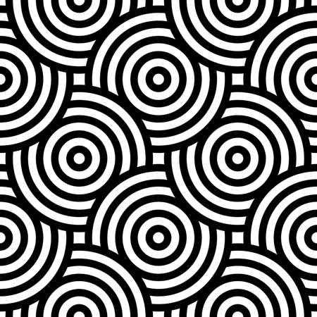Vector seamless pattern with bold striped circles. Stylish geometric texture. Modern abstract background. EPS 10 Vektorové ilustrace