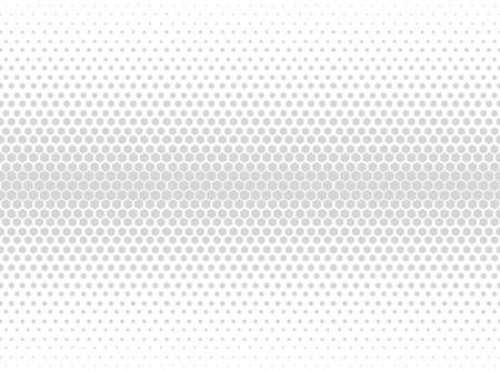 Halftone hexagon abstract background. Black and white vector pattern. Vecteurs