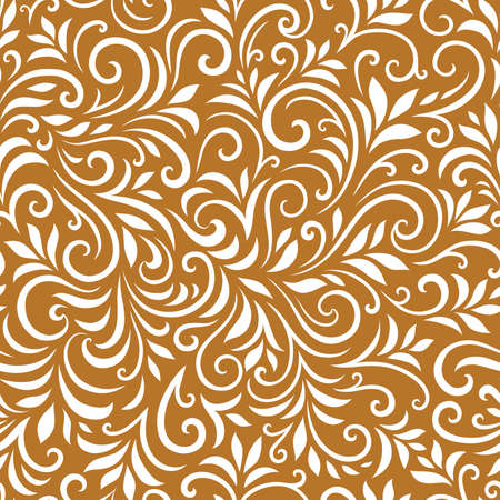 Vector seamless pattern with leaves and curls. Monochrome abstract floral background.