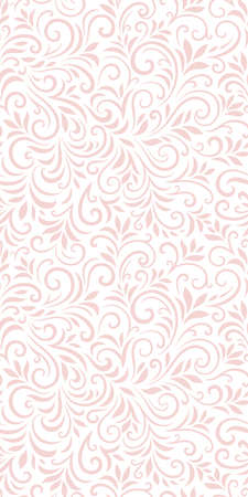 Vector seamless pattern with leaves and curls. Monochrome abstract floral background. Vektoros illusztráció