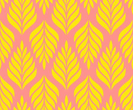 Vector geometric seamless pattern. Modern stylish floral background with leaves. Illusztráció