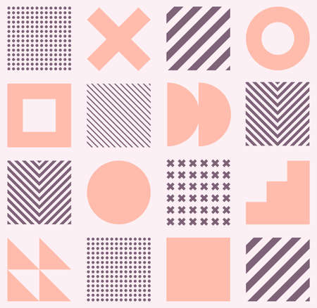 Minimalistic geometric seamless pattern in Scandinavian style. Abstract vector background with simple shapes and textures. EPS 10 向量圖像