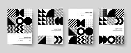 Trendy covers design. Minimal geometric shapes compositions. Applicable for brochures, posters, covers and banners. Vector, EPS 10 Illusztráció