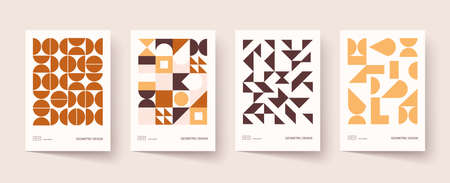 Trendy covers design. Minimal geometric shapes compositions. Applicable for brochures, posters, covers and banners. Vector, EPS 10. Vektorgrafik