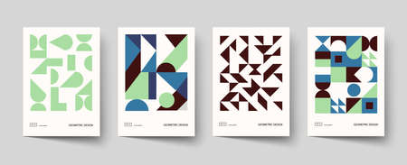 Trendy covers design. Minimal geometric shapes compositions. Applicable for brochures, posters, covers and banners. Vector, EPS 10.