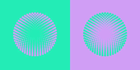 Colorful halftone radial patterns. Dotty circles logo design. Vector duotone abstract background. EPS 10.