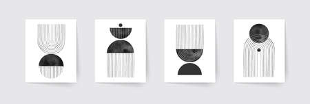 Set of abstract hand painted geometric compositions. Mid century modern posters. Boho wall decor. Vector illustration.