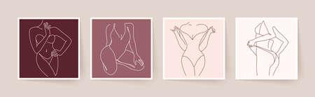 Abstract minimalistic female bodies. Modern single line art. Woman beauty fashion concept, minimalistic style. Vector illustration, EPS 10. Illustration