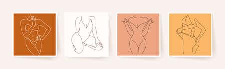 Abstract minimalistic female bodies. Modern single line art. Woman beauty fashion concept, minimalistic style. Vector illustration Illustration