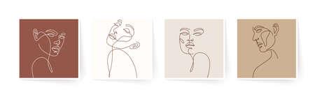Set of stylized woman faces. Modern single line art. Woman beauty fashion concept, minimalistic style. Vector illustration, EPS 10.