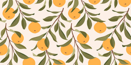 Seamless pattern with oranges. Trendy summer background. Bright print for fabric or wallpaper. Vector illustration, EPS 10.