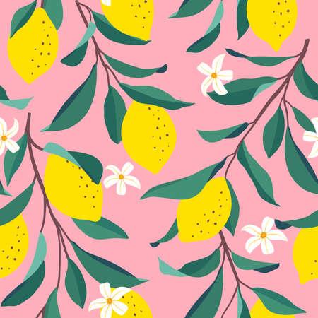 Lemon seamless pattern. Trendy summer background. Bright print for fabric or wallpaper. Vector illustration, EPS 10. Illustration