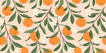 Seamless pattern with oranges. Trendy summer background. Bbright print for fabric or wallpaper. Vector illustration, EPS 10.