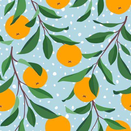 Seamless pattern with tangerines. Bright print for fabric or wallpaper. Vector illustration, EPS 10.