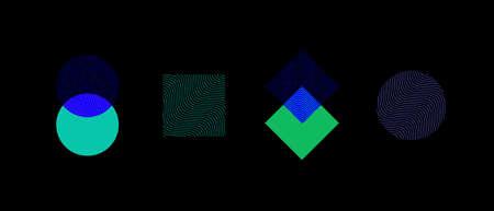 Minimal geometric logo template. Trendy linear wavy design elements. Colorful vector illustration.