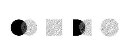 Minimal monochrome wavy logo template. Trendy linear design elements. Vector illustration.